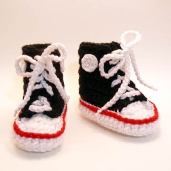 Free Crochet Baby High Tops Pattern : Black High Tops Crochet Baby Booties 0-6 months