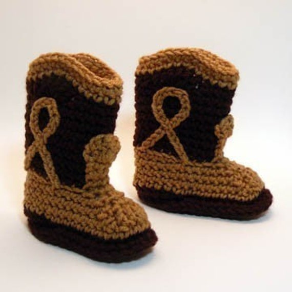 Brown Cowboy Boots Crochet Baby Booties 0-6 Months