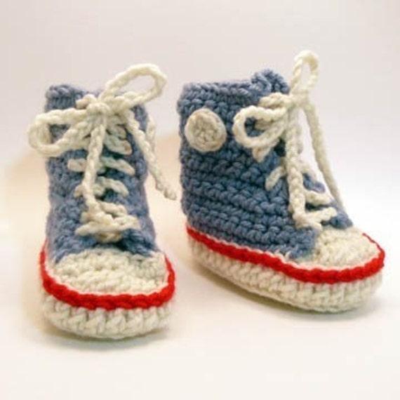Azure High Tops Crochet Baby Booties 0-6 Months