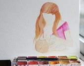 Womanly Art of Breastfeeding (series) - Original watercolor - 9x12 - by Erin Darcy