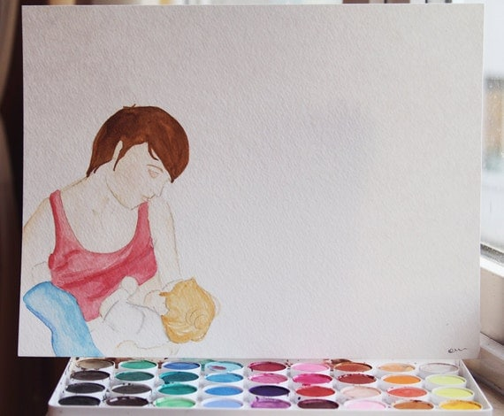 SALE - Womanly Art of Breastfeeding (series) - Original watercolor - 9x12 - by Erin Darcy