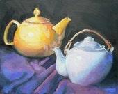 "Teapot Still Life, Original Oil, Teapot Painting, ""Two for Tea"", 8X10,"