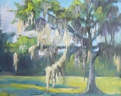 """Original Oil Landscape Tree Painting, OOAK, 6x6"""", """"Southern Line Oak and Spanish Moss"""""""