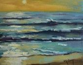 "Seascape Daily Painting, ""Ocean Sunrise"", Oil, 8x10"""