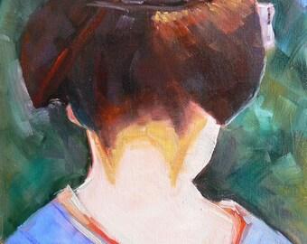 "Geisha Painting,  Japanese Woman, Figuative Painting, Daily Painting, 8x6"", Geisha II"