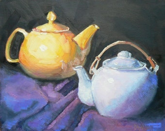 "Teapot Still Life, Original Oil, Teapot Painting, ""Two for Tea"", 8X10,"