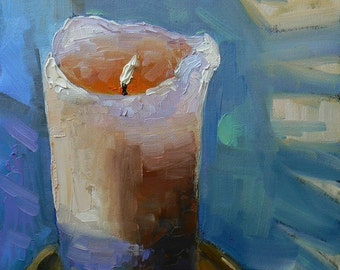 "Still Life Painting,Painting on Sale, Like a Candle in the Wind, 8x6"", Original Oil,"
