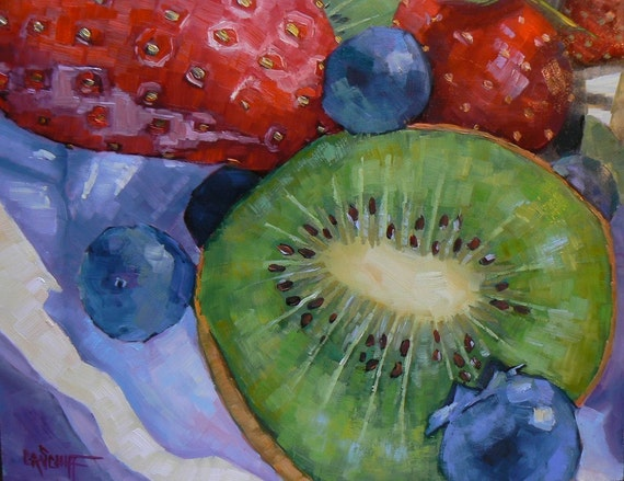 """Still Life Oil Original  Fruit Painting, OOAK, 11x14, """"Berries and Kiwi""""  Reserved for Christi"""