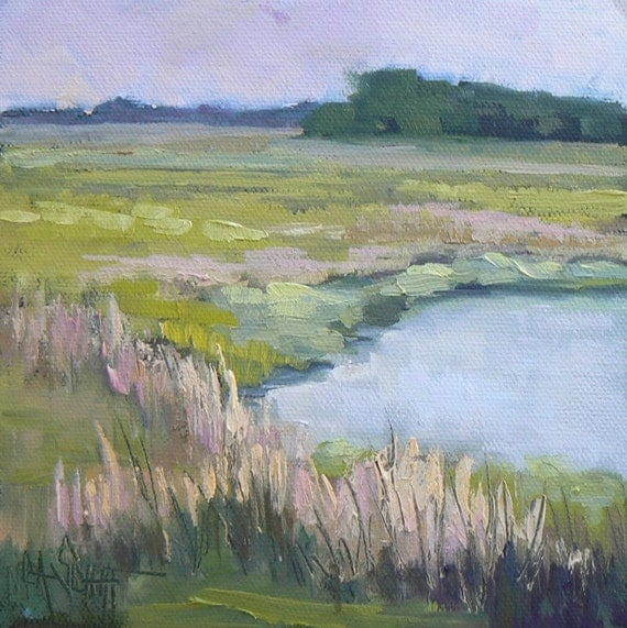 "Original Oil Landscape Painting, ""Marshes of Maine"", 6x6"""