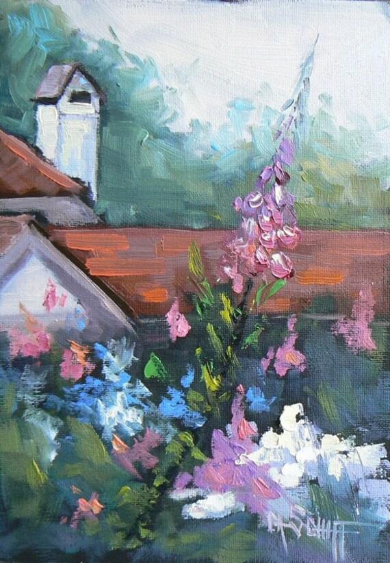 """Garden Oil Landscape, Art Sale, Floral Painting, 7x5"""" """"Gardens of Hyde Park, Sale"""