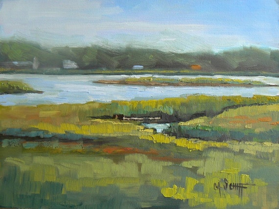 "Daily Painting,Landscape Oil , 6x8, OOAK, ""Saltwater Marsh"""