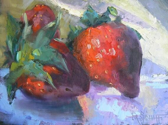 "Strawberry Painting, Strawberry Still Life, Kitchen Painting, Daily Painting, 6x8"", OOAK,"" Strawberry Jam"""