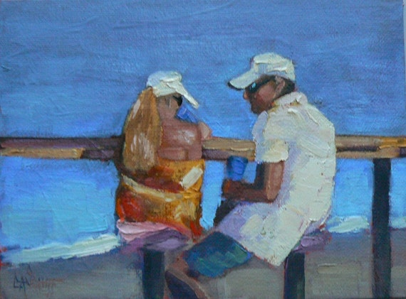 "Original Figurative Oil Painting, 6x8, OOAK, ""Hook, Line and Sinker"", Sale oil painting"