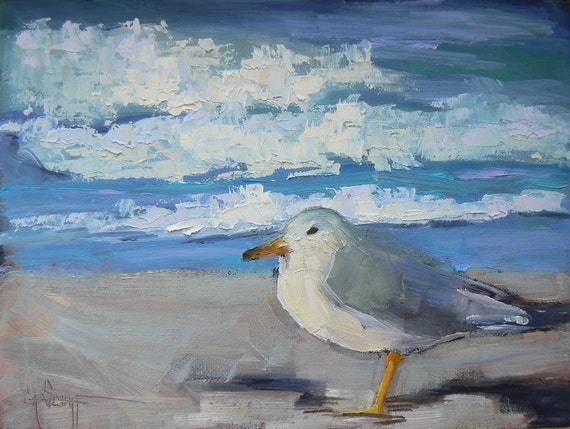 "Painting on Sale, Daily Painting, Bird Painting, Sea Gull Painting, ""Beach Patrol II"". 6x8"", Original Oil"