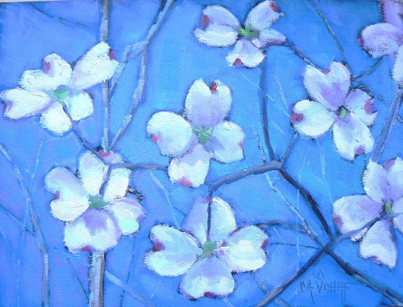 "Daily Painting, Original Oil Floral, ""Blooming Dogwood"" 6x8"", Painting on Sale"