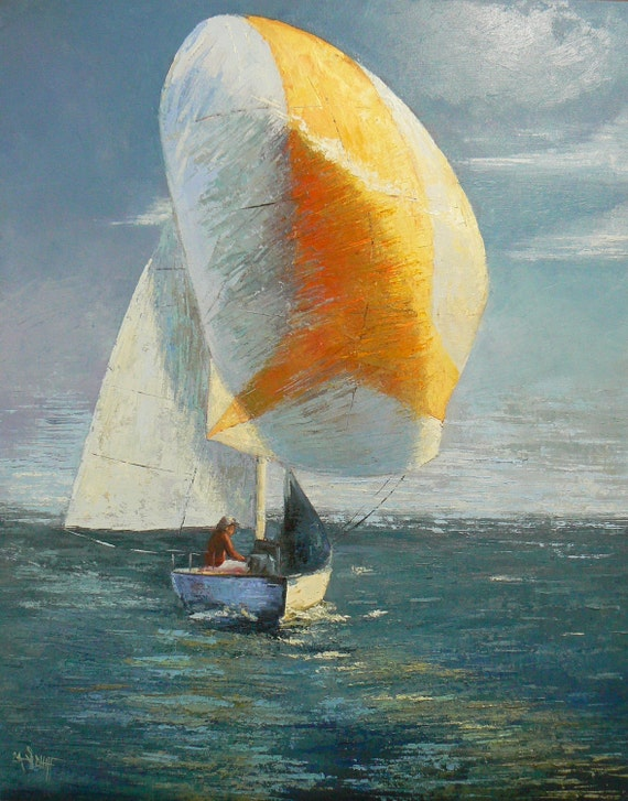 """Original Oil Sailboat Painting, 24x30"""" painting, """"A Spinnaker Day""""  Sailing, OOAK painting"""