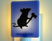 Mouse with a Hatchet - Fused Glass  Night Light - Medium Blue