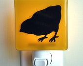 SALE - Baby Chick - Hand Painted Glass  Night Light - Amber
