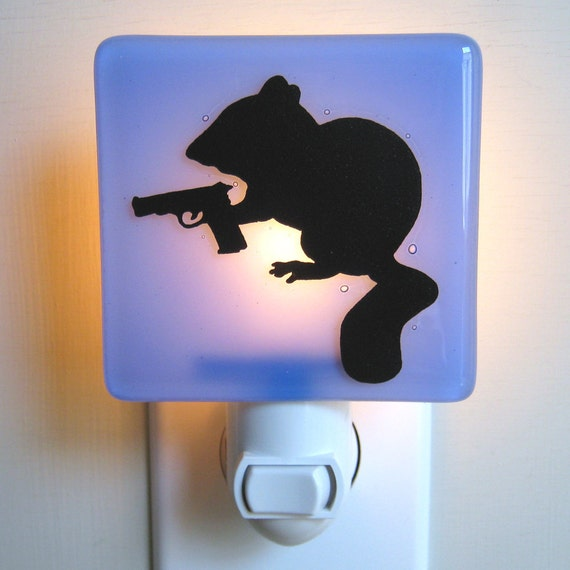 Chipmunk with a Handgun - Fused Glass Night Light - Pale Blue