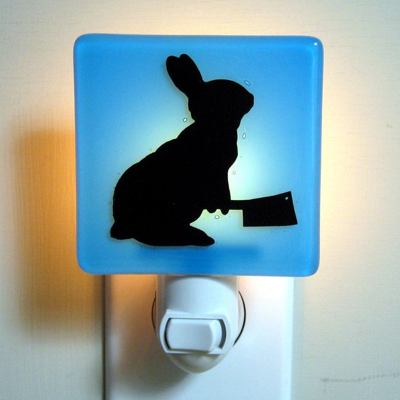 Bunny with a Meat Cleaver - Fused Glass Night Light - Sky Blue