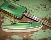 SALE Awesome Antique 1920's Art Deco Green Enamel and Chrome Vanity Dresser Brush and Nail Buffer Set