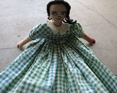 Antique Primitive African American Folk Rag Doll Ragdoll in Green Gingham Dress Free US Shipping