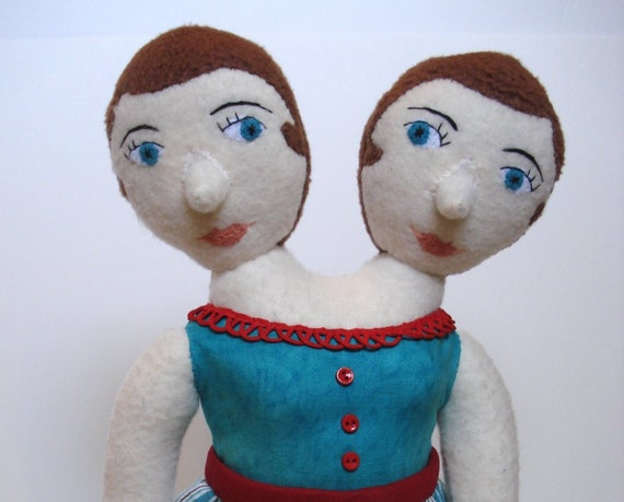 Conjoined twins plush doll