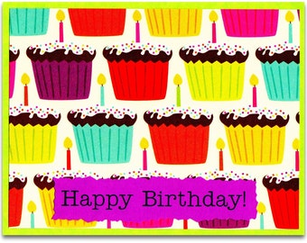 Happy Birthday Cupcake Note Cards - SET OF TEN