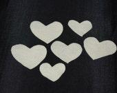 6qty. Ivory Felt Hearts, handmade supplies