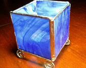 Stained Glass Tea Light Holder, Cobalt Blue