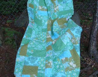 Blue and Green Floral Twin Quilt