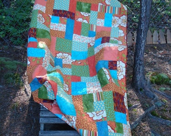 Teal and Orange Modern Floral Twin Bed Quilt