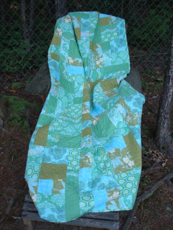 Blue and Green Floral Shabby Chic Twin Quilt Lap quilt Throw Blanket