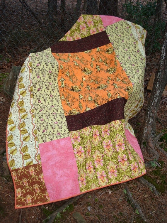 Tangerine, Green and Pink Bird Bed Quilt