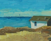 "Looking in to Provincetown 8""x8"" - Cape Cod Oil Painting with Driftwood Frame"