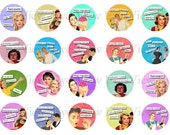 Collage sheet,  SET 2 Sassy Ladies,  1 inch circle,  INSTANT DOWNLOAD,   Retro advertisements,  Funny sayings, quips, quotes.  Altered art