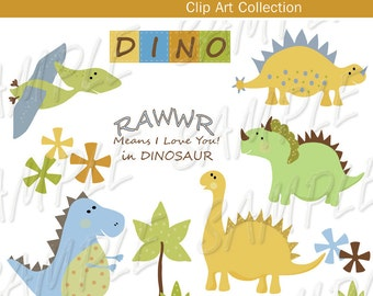 clip art, RAWWWRRR,  Dinosaurs, INSTANT DOWNLOAD, Clipart,  Digital for Cards, Stationary, digital, scrap booking and Paper Products , Dino,