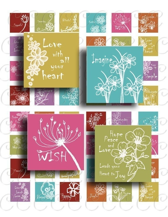 NEW Collage sheet INSPIRED spiced colors 1 inch squares.  Flowers, Inspiration, pendants