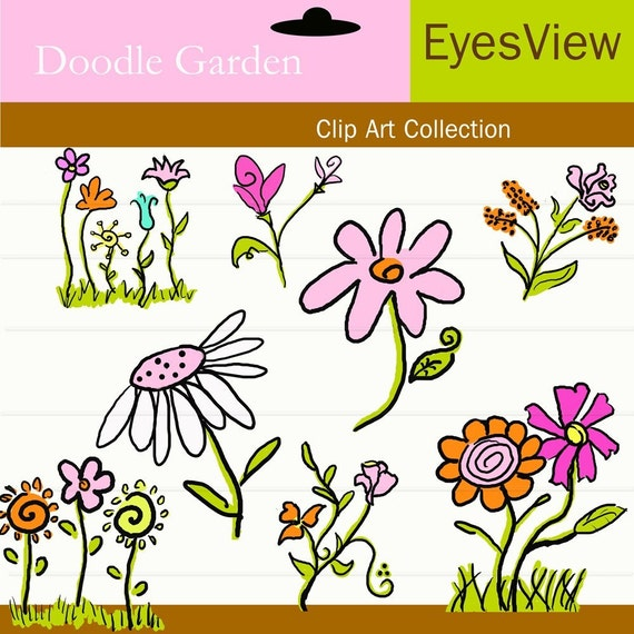 Clipart,  Doodle Garden, Digital, INSTANT DOWNLOAD,  clip art , Commercial use for Cards,  scrapbooking and Paper Products , flower,