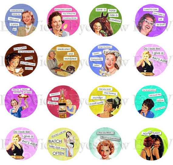 Collage sheet SET 1 SASSY LADIES 1 inch circle Retro advertisements,  Funny sayings, Instant Download,  Altered art