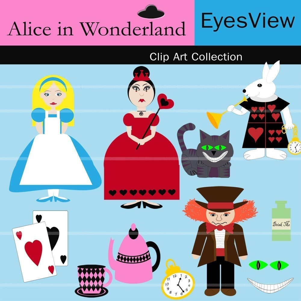 Digital Clip Art Alice In Wonderland Great For Cards