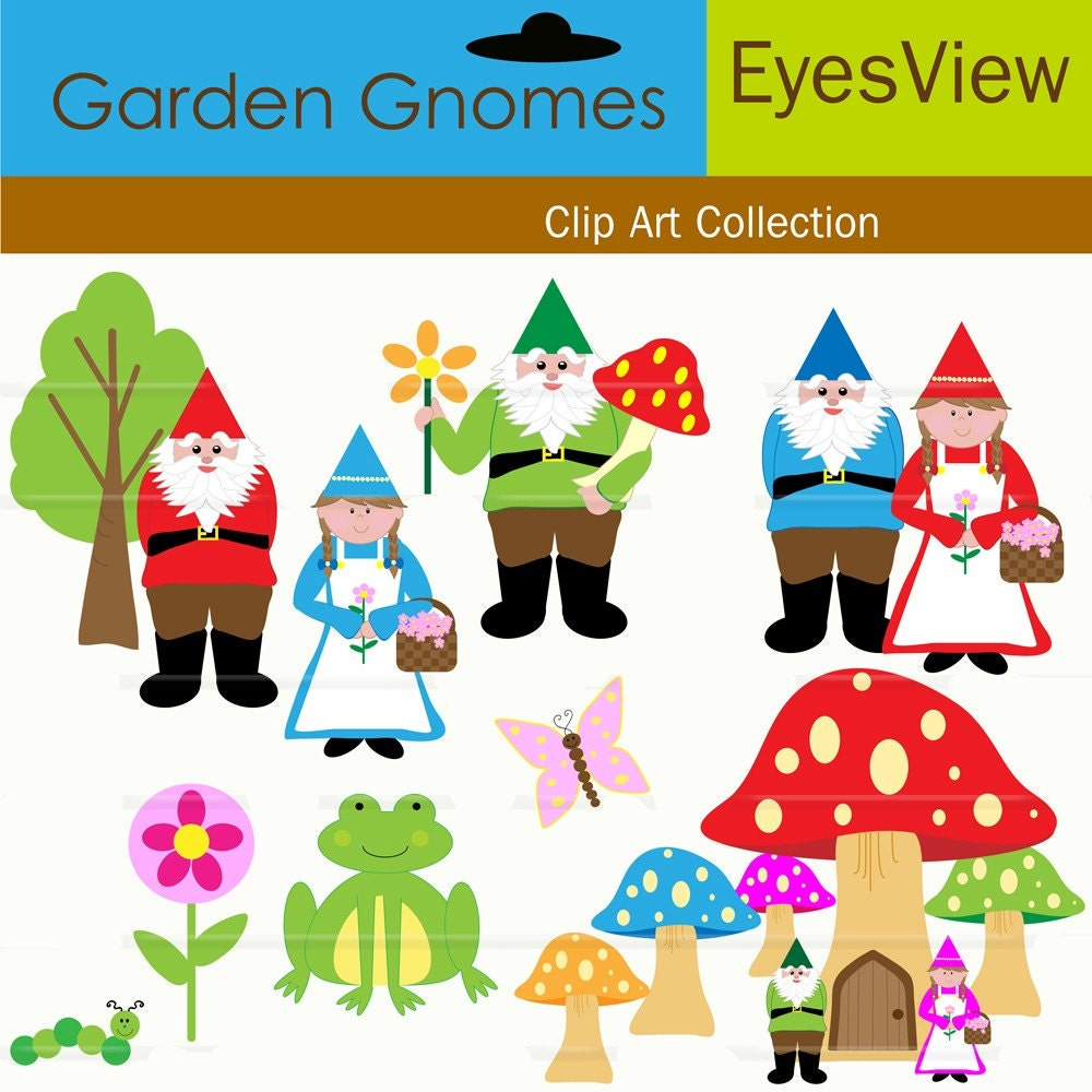 Gnome Clip Art: Clipart Garden Gnome INSTANT DOWNLOAD Digital By InkAndWhimsy2