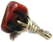 Sale Handmade Vampire Heart Bead Ring Sz 2 1/2