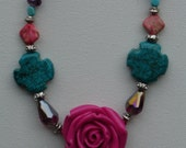 Summer Sale 25% off -Frida Style Boho Chic Pink Rose Turquoise Cross Necklace