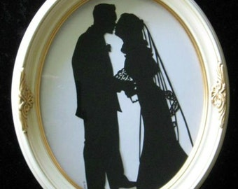 Custom Silhouette First Anniversary Gift in White frame with Gold Accents