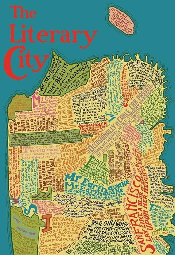 The Literary Map of San Francisco LaserCut Wooden Jigsaw