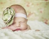 Cloe -Moss Green with a Touch Violet Flower Headband-Available in Newborn,Toddler,Girls and Adults