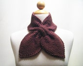 Knitted Dusty Chocolate Brown Bow Neck Warmer or Scarflette