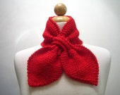 Scarflette Ascot Scarf knitted in Scarlet Red