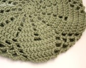 Slouchy Hat Crocheted and Knitted Dusty Green